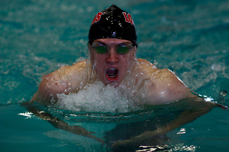 Erik Trenary competes in the  Men's 100 yard Breaststroke at the Mountain View Aquatic Center Tuesday, March 12, in Loveland, Colo.
