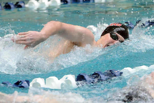 Loveland High School senior Cooper Bowen swims in the 200-yeard freestyle final during the Conference Championships on Saturday, May 11, 2013 at Veterans Memorial Aquatic Center in Thornton, Colo.