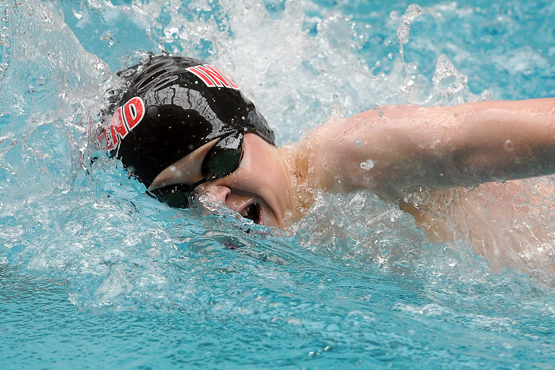 Loveland High School freshman Brennen Lang swims in a consolation heat of the 200-yard freestyle during the Conference Championships on Saturday, May 11, 2013 at Veterans Memorial Aquatic Center in Thornton, Colo.