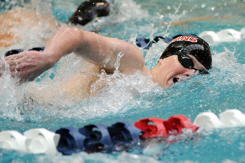 Loveland High School's Cooper Bowen swims in the 500-yard freestyle final during the Conference Championships on Saturday, May 11, 2013 at Veterans Memorial Aquatic Center in Thornton, Colo.
