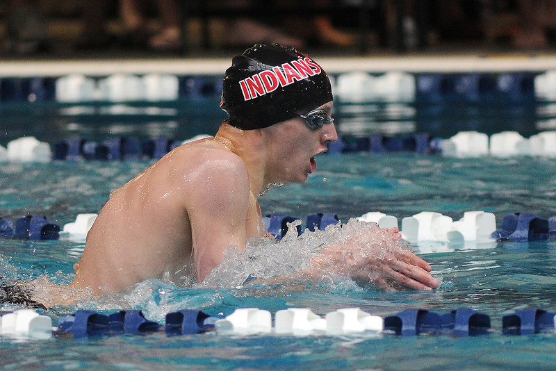 Loveland High School freshman Jackson Buyers swims the breaststroke portion of the 200-yard individual medley final during the Conference Championships on Saturday, May 11, 2013 at Veterans Memorial Aquatic Center in Thornton, Colo.