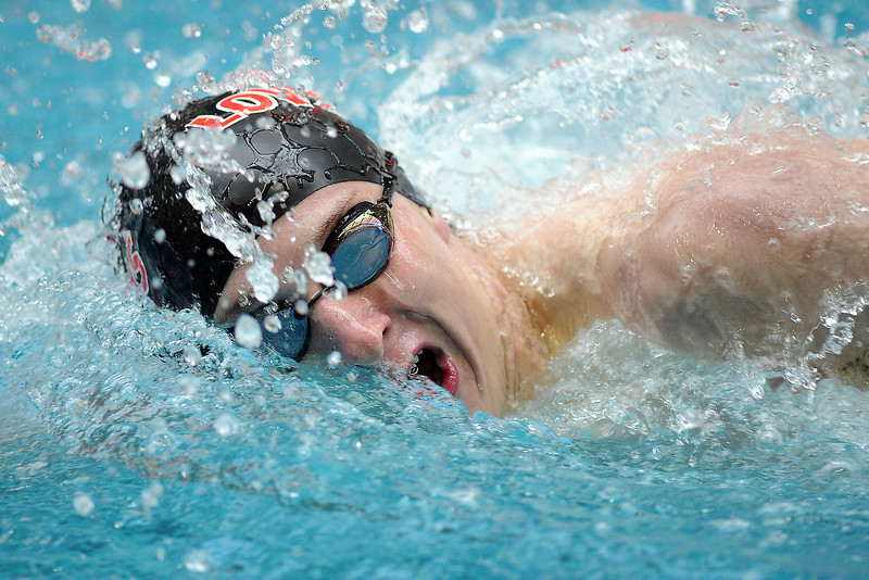 Loveland High School sophomore Colton Mitchell swims the freestyle portion of the 200-yard individual medley final during the Conference Championships on Saturday, May 11, 2013 at Veterans Memorial Aquatic Center in Thornton, Colo.