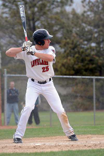 Loveland High School senior Jay Larson stands at the plate during an at bat in the bottom of the sixth inning of a game against Fossil Ridge on Tuesday, April 30, 2013 at Swift Field.