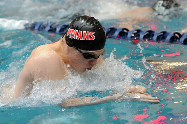 Loveland High School's Ethan McNally swims in the 100-yard breaststroke final during the Conference Championship on Saturday, May 11, 2013 at Veterans Memorial Aquatic Center in Thornton, Colo.