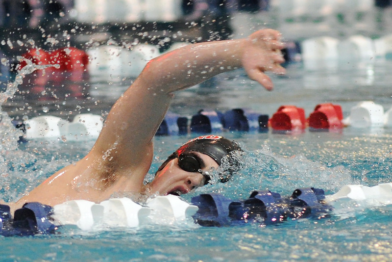 Loveland High School's Jeremy Robberson swims in the 500-yard freestyle final during the Conference Championships on Saturday, May 11, 2013 at Veterans Memorial Aquatic Center in Thornton, Colo.