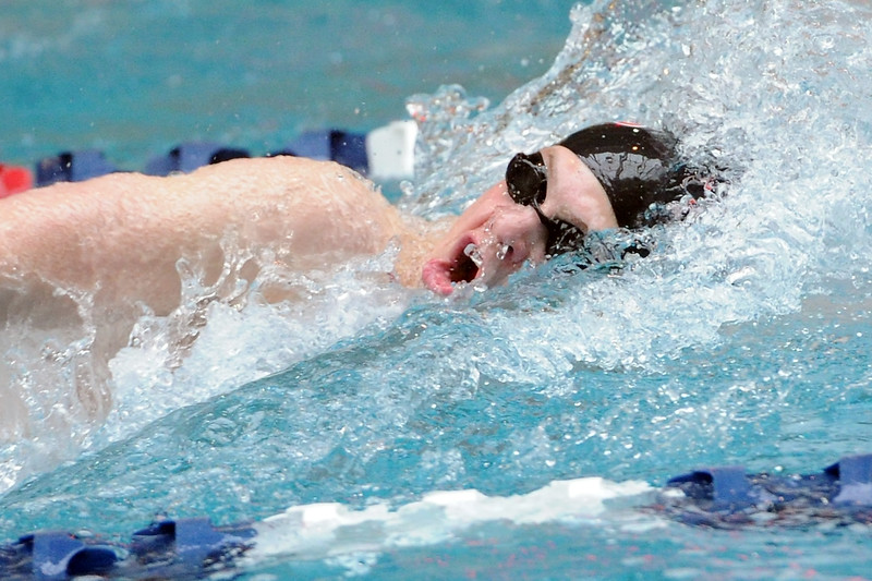 Loveland High School's Ethan McNally swims in the 100-yard freestyle final during the Conference Championships on Saturday, May 11, 2013 at Veterans Memorial Aquatic Center in Thornton, Colo.