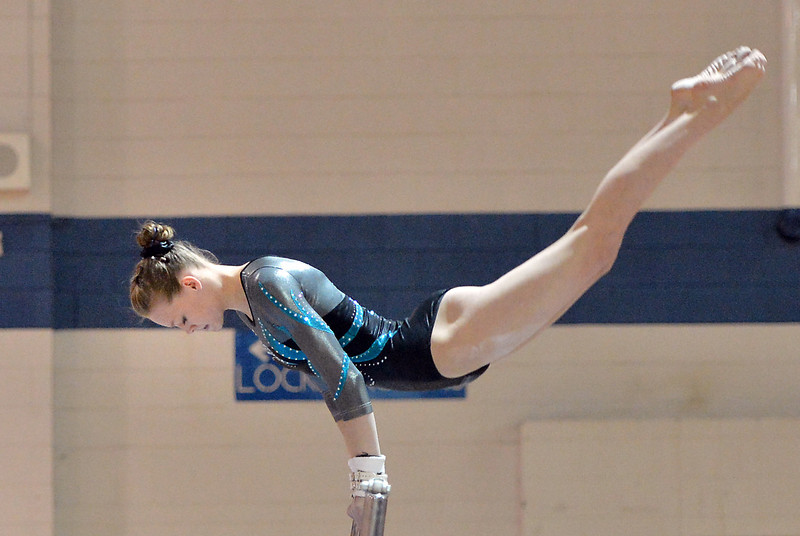bent1104LOVEgymindividual04.JPG Loveland's Claire Hammen  performs on the uneven parallel bars during the state individual gymnastics competition at Thornton High School on Saturday.<br /> <br /> November 3, 2012<br /> staff photo/ David R. Jennings