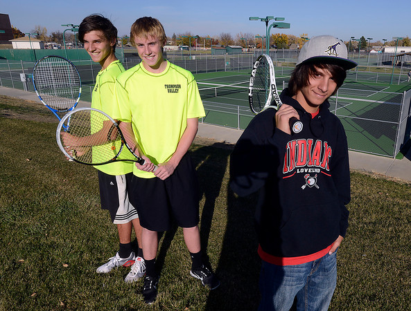 Reporter-Herald all area tennis team from left are Thompson Valley's Seth Latka and Ben Riffle and Loveland's Joseph Diaz at the North Lake Park tennis courts on Monday, October 22, 2012.