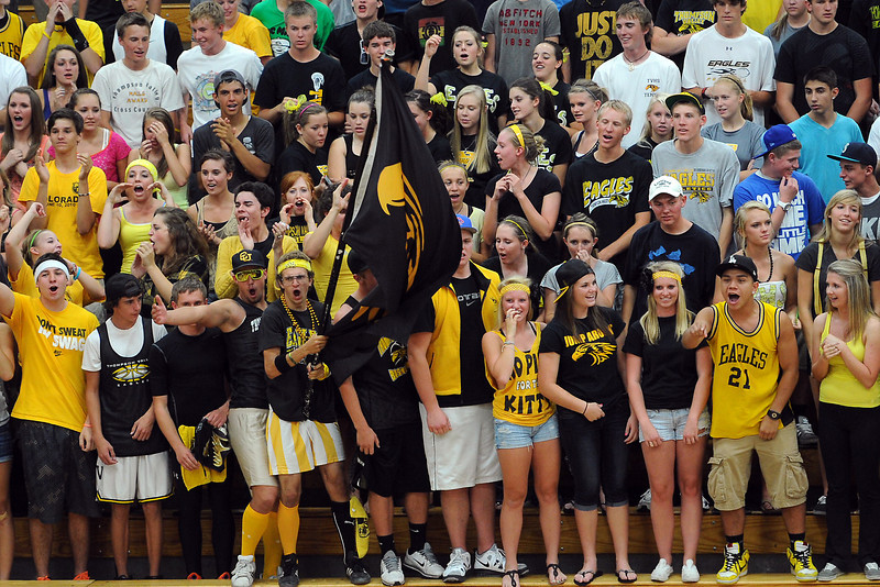 Thompson Valley High School volleyball fans scream their encouragement during a match against Loveland on Friday, Aug. 31, 2012 at TVHS.
