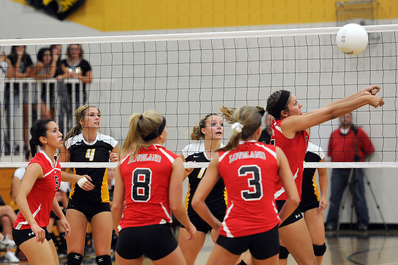 Volleyball match pitting Loveland High School against Thompson Valley on Friday, Aug. 31, 2012 at TVHS.