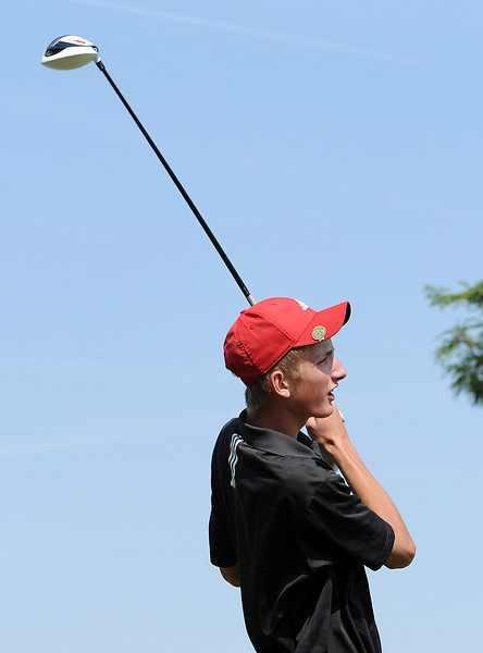 Loveland High's Ty Krizman tees off Friday during 5A regional golf at Mariana Butte in Loveland.