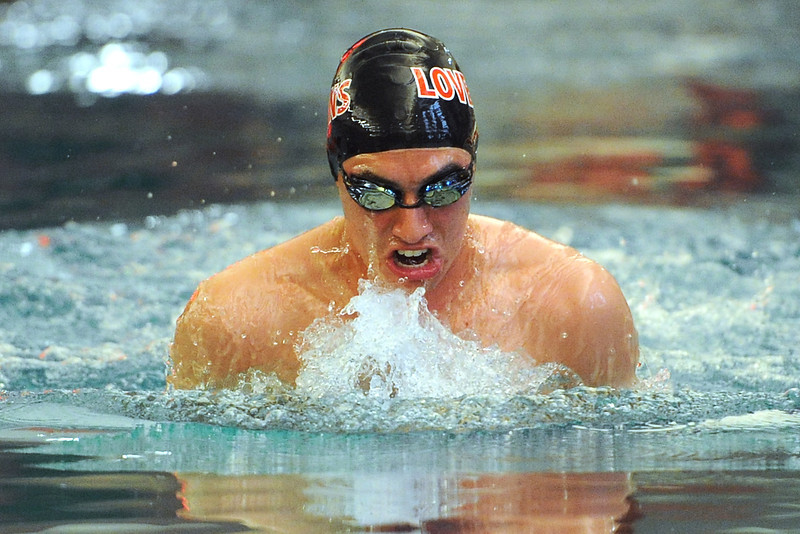 Loveland High School's David Gauvin swims in the 100-yard breaststroke during a dual meet against Legacy on Thursday, April 26, 2012 at Loveland's pool.