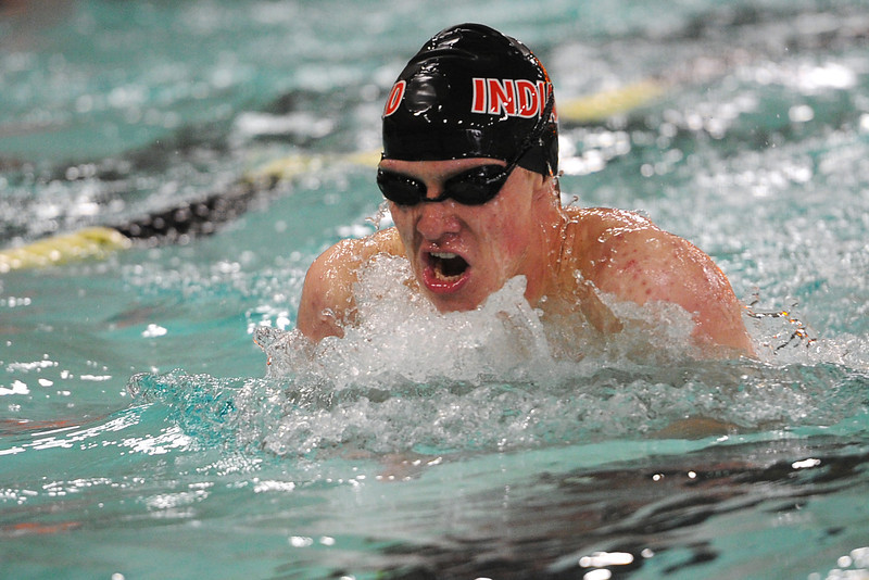 Loveland High School's Pat Jones swims the breaststroke portion of the 200-yard individual medley during the Loveland City Meet on Wednesday, April 18, 2012 at the Hewson Aquatic Center.