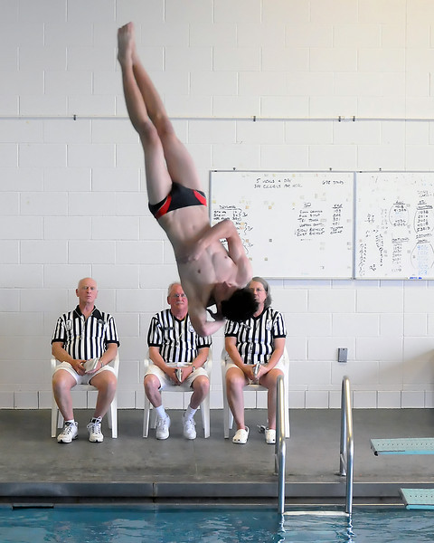 Loveland High School junior Ben Tripam performs a dive during a dual meet against Poudre on Thursday, April 29, 2010 at the Mountain View Aquatic Center.