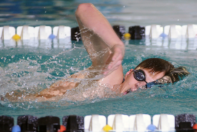 Loveland High School freshman Nick Hatanaka swims in the 500-yard freestyle during a dual meet against Poudre on Thursday, April 29, 2010 at the Mountain View Aquatic Center.