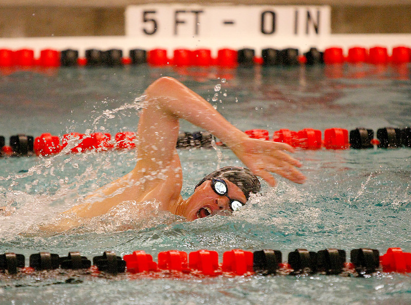 Loveland High School senior, Brandon Hatanaka competes in the 500 yard freestyle Tuesday at Loveland High School. (Photo by Gabriel Christus)