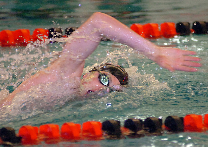 Loveland's Ethan McNally swims the 500 freestyle Thursday.