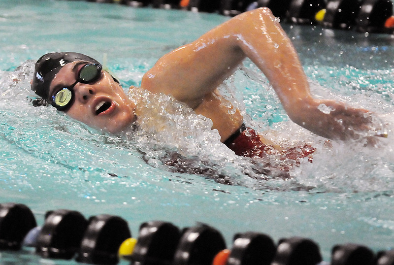 Loveland High School junior Hannah Svedlow swims the in the 200-yard freestyle during a dual meet against Boulder on Thursday, Dec. 2, 2010 at the Mountian View Aquatic Center.