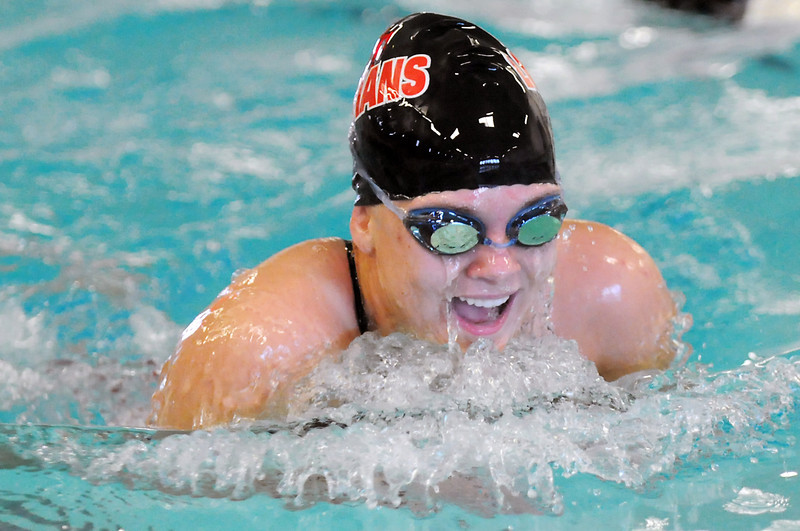 Loveland High School's Sierra Krell swims the breaststroke portion of the 200-yard medley relay final during the City Meet on Wednesday at the Mountain View Aquatic Center.