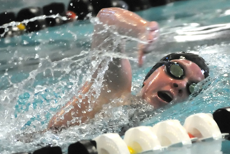 Loveland High School sophomore Sydney Miller swims a heat of  the 200-yard freestyle during the Front Range League Swimming and Diving Championships at the Mountain View Aquatic Center on Friday.