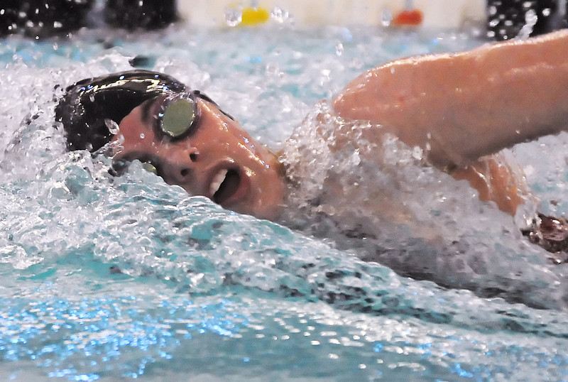 Loveland High School sophomore Hannah Svedlow swims in a heat of the 200-yard freestyle during the Front Range League Swimming and Diving Championships at the Mountain View Aquatic Center on Friday.