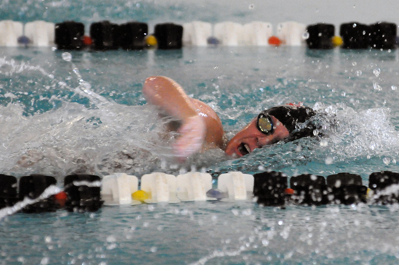 Sydney Miller of Loveland High School swims the 200-yard freestyle event of Tuesday night's Loveland City Meet at Mountain View High School.