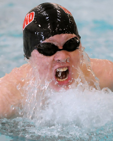 Loveland High School junior Brandon Hatanaka swims the breaststroke portion of the 200-yard medley finals during the Dick Rush Invitational swim meet on Saturday at the Edora Pool Ice Center in Fort Collins.