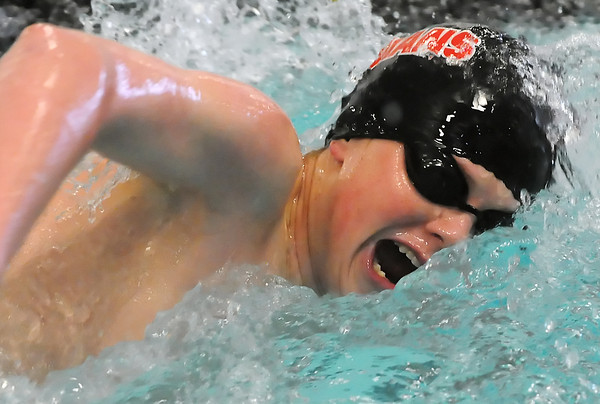 Loveland High School against Rocky Mountain in a dual meet Tuesday, March 23, 2010 at the Mountain View Aquatic Center. 100-yard freestyle, Cooper Bowen, freshman, lane 1