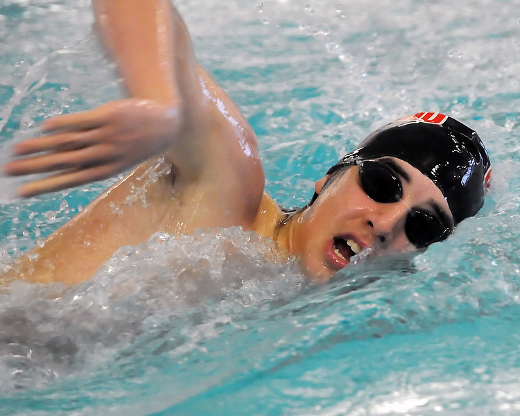 Loveland High School against Rocky Mountain in a dual meet Tuesday, March 23, 2010 at the Mountain View Aquatic Center. 500-yard freestyle, David Gauvin, sophomore, lane 3.