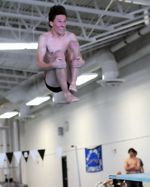 Loveland High School junior Ben Tripam performs a dive during a dual meet against Rocky Mountain on Tuesday, March 23, 2010 at the Mountain View Aquatic Center.