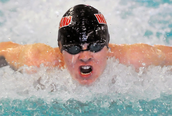 Loveland High School junior Brandon Hatanaka swims the butterfly portion of the 200-yard individual medley during the Front Range League Boys Championships on Friday, May 14, 2010 at the Mountain View Aquatic Center.