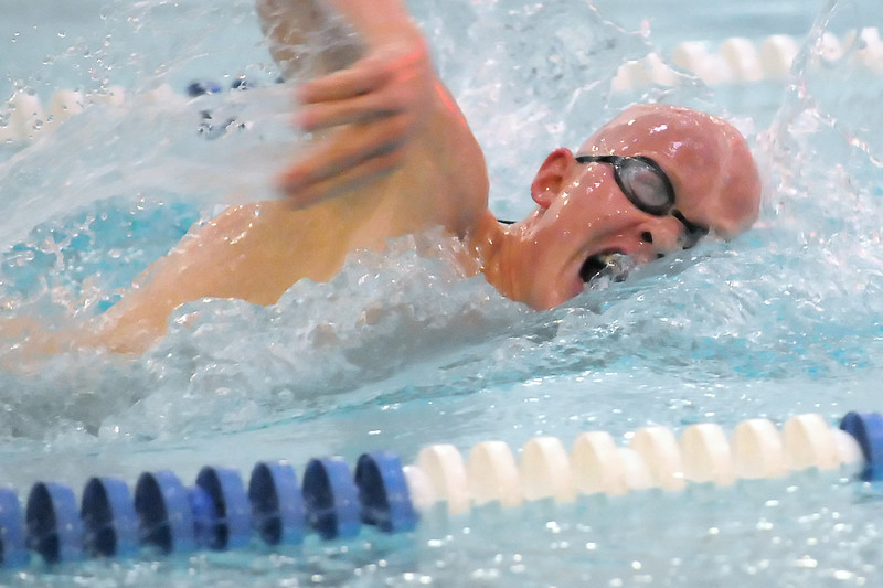 Loveland High School senior Brandon Hatanaka swims in a preliminary heat of the 500-yard freestyle during the Class 5A State Swimming and Diving Championships on Friday, May 20, 2011 at the Edora Pool Ice Center in Fort Collins, Colo.