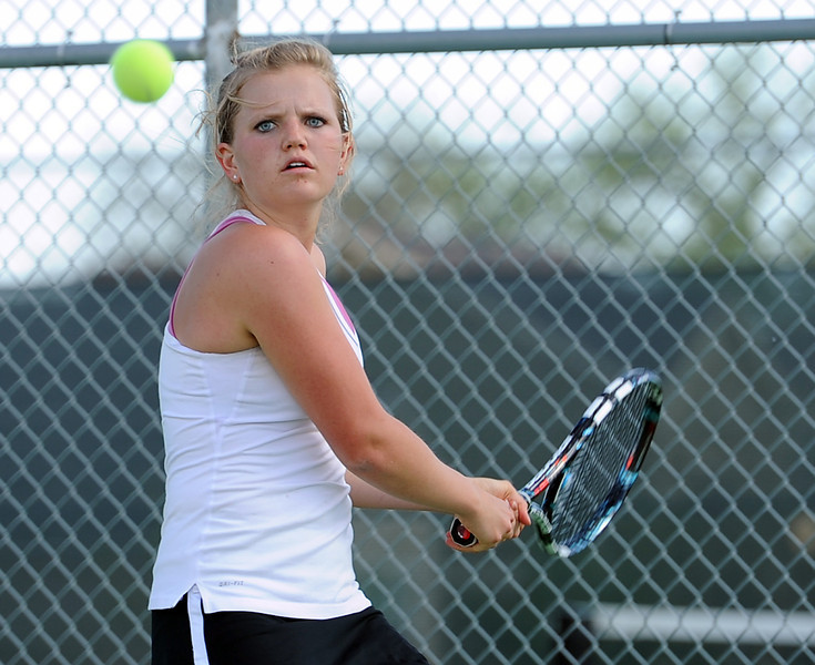 Loveland High School's Jenn Weissmann during a match Monday at Fossil Ridge High School.