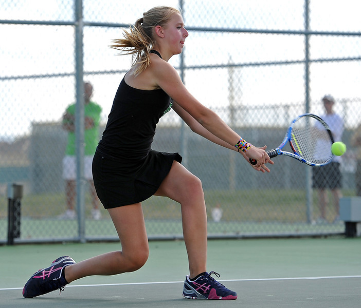 Fossil Ridge High School's Andrea Matley during a match Monday at Fossil Ridge in Fort Collins.