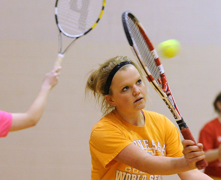 Loveland High School tennis player Jennifer Weissmann during practice Friday. Photo by Jenny Sparks