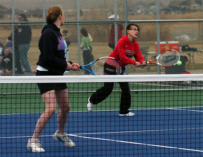 Loveland's Casey Kleeman, left, and Chichi Wang.