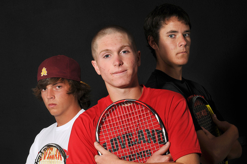Loveland Reporter-Herald's All Area Boys Tennis doubles players are Tyler Hempstead, left, and Adam Kinnes, right, and singles player of the year is Alex Clinkenbeard, all of Loveland High School.