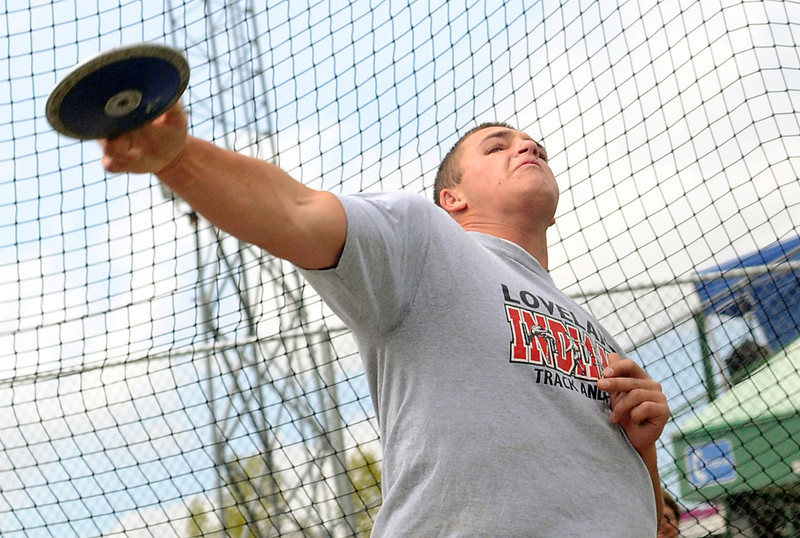 Loveland High School's Callen Hecker throws the discus Thursday, May 13, 2010 during the Front Range League Championships at Rocky Mountain High School's French Field in Fort Collins.