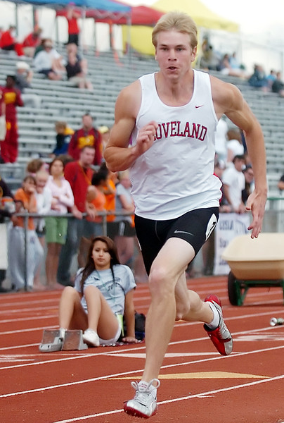 Loveland High School senior Blake Berens takes off at the start of the 200-meter dash during the Class 5A State Track and Field Championships on Friday, May 21, 2010 at Jeffco Stadium in Lakewood. Berens placed eighth in the event.