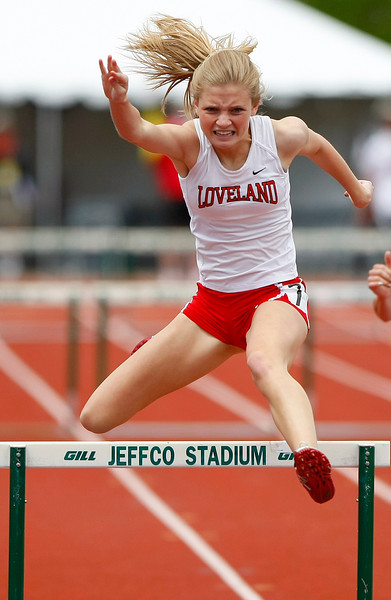 Loveland 5A 300 hurdles Saturday at Jefferson County Stadium in Denver. (Photo by Gabriel Christus)