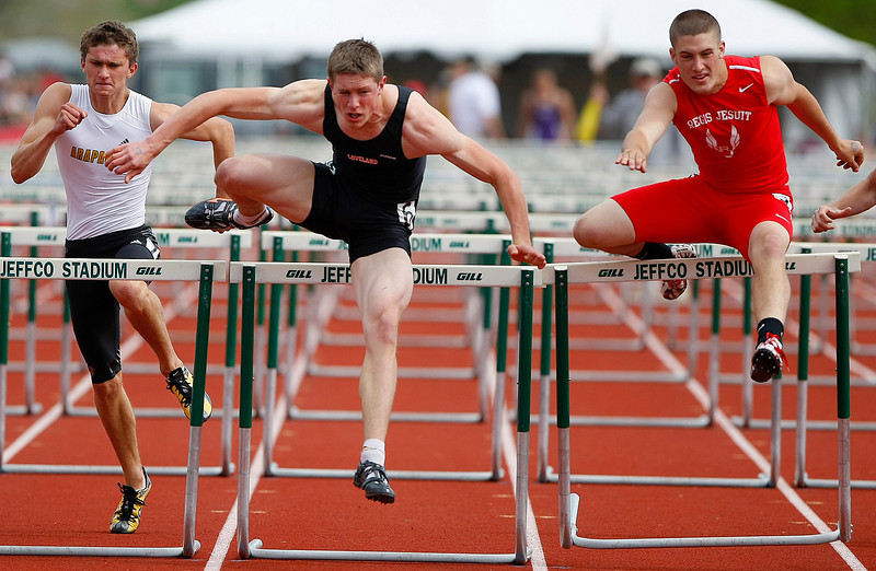 Loveland 5A 110 hurdles Saturday at Jefferson County Stadium in Denver. (Photo by Gabriel Christus)