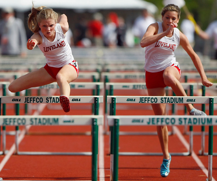 Loveland High School 5A 100 hurdles Saturday at Jefferson County Stadium in Denver. (Photo by Gabriel Christus)