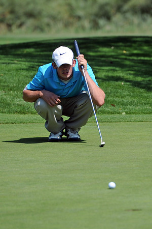 Jordan Bobert lines up his putt on No. 17 while competing in the Loveland City Championship on Saturday, Aug. 18, 2012 at Mariana Butte Golf Course.