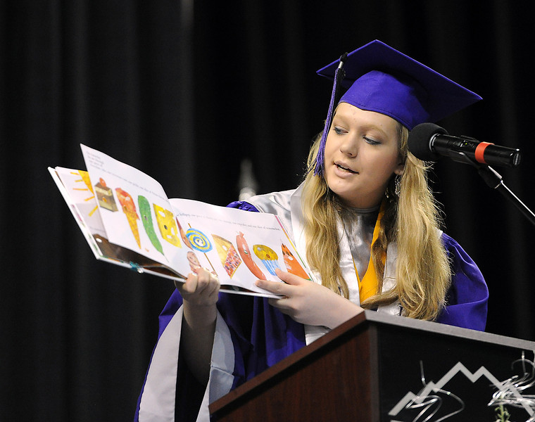 Mountain View valedictorian Dyrani Clark speaks to graduates during graduation at the Budwieser Events Center at The Ranch in Loveland on Saturday, May 25, 2013.
