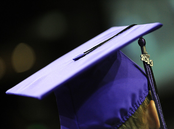 The 2013 tassel hangs from a Mountain View graduates cap during their ceremony at the Budwieser Events Center at The Ranch in Loveland on Saturday, May 25, 2013.