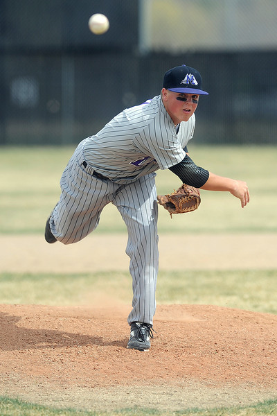 Mountain View High School senior Brandon Baeckel throws a pitch in the bottom of the third inning of a game against Thompson Valley on Saturday, March 31, 2012 at Constantz Field.