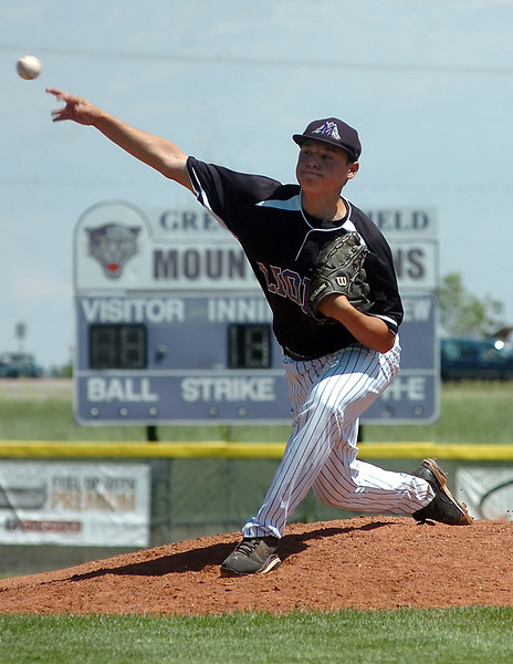 Mountain View's #18 pitches Thursday during their game against Fossil Ridge.