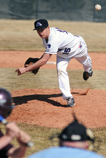 Mountain View High School junior Chandler Conley throws a pitch in the top of the third inning of a game against Berthoud on Saturday, March 13, 2010 at MVHS. The Mountain Lions won in five innings, 11-0.