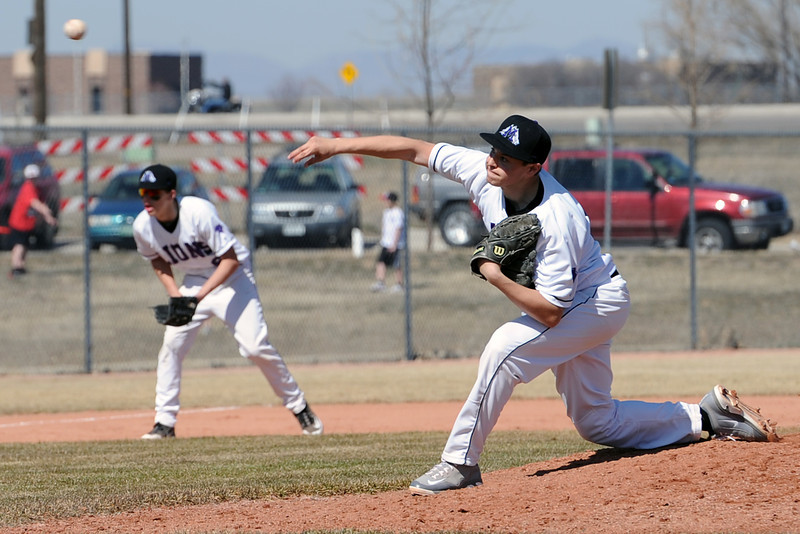 Mountain View High School's Alec Suarez throws a pitch in the top of the third inning of a game against Greeley Central on Saturday, March 10, 2012 at MVHS.