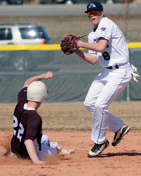Mountain View High School shortstop Brandon Baeckel covers second base during a game against Berthoud on Saturday, March 13, 2010 at MVHS.